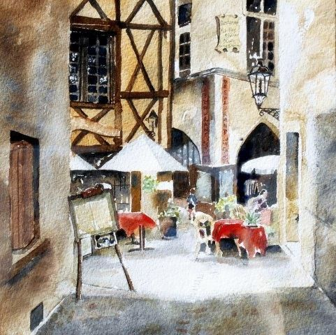 greeting, card, watercolour, birthday, france, French, fine art card, wine, rustic, northern france, architectural, dining,restaurant, dining, al fresco