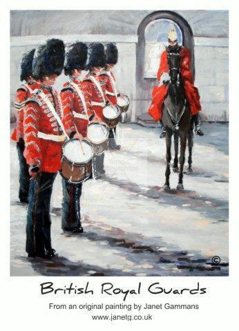 British, royal, guards, poster, art, painting, horse, soldiers, buckingham palace, print