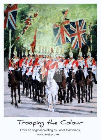 trooping, colour, royal, british, guards, horses, soldiers, art, poster, painting, union, Jack