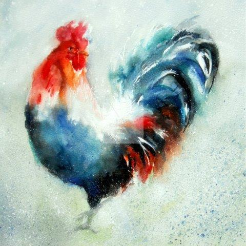cockerel, hens, chickens, farmyard, countryside, watercolour, fine, art, painting, contemporary art