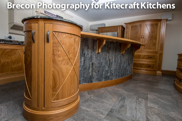 part of bespoke kitchen showing detail of grain in wood