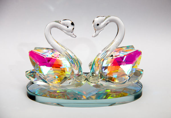 glass swans bathing in reflected light