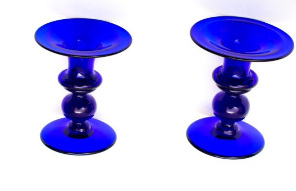 Bristol Blue Glass candlesticks