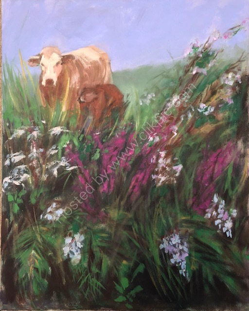 THROUGH THE HEDGEROW, COW AND CALF