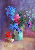 Summer flowers in green vase