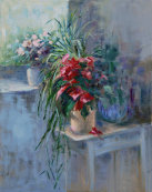 Christmas rose by the window