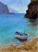 Moored boat in Corfu