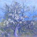 Old Almond Tree. Spring, Crete. Pastel.
