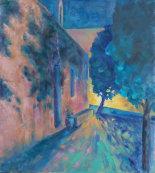 Churchyard by lamplight