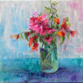 Bougainvillea in Green glass Jar