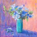 Plumbago in Blue Vase