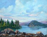 Shuswap Lake Cable Beach  20x18 - JC Studio Art