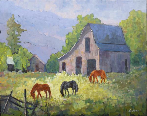 Lumby BC Barn Yard - Acrylic 16x20
