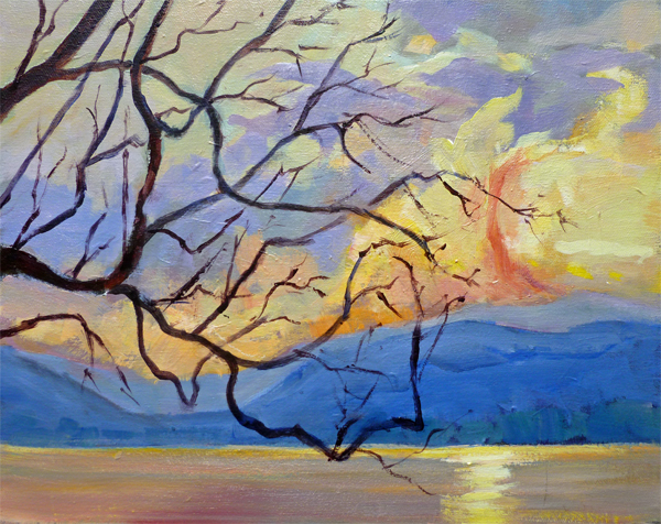 Sunset Eagle Bay BC Acrylic 11x14