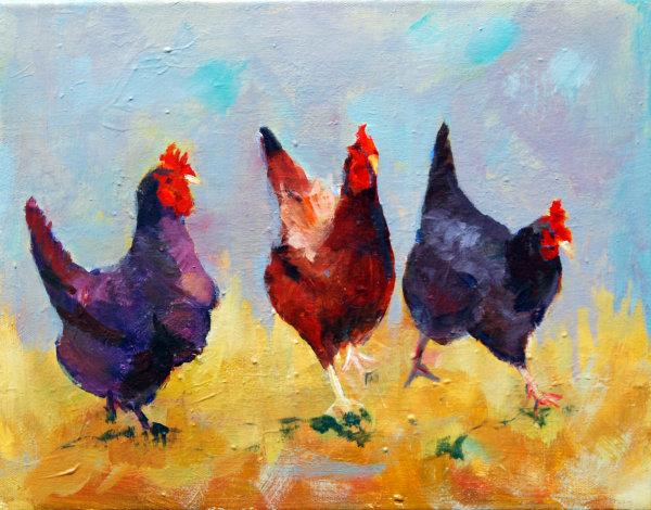 We Three Chicks Acrylic 11x14