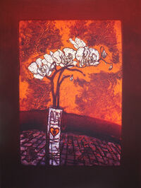 Autumn Orchid, collagraph