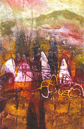 Autumn Ring Stones collagraph 46x27.5cm