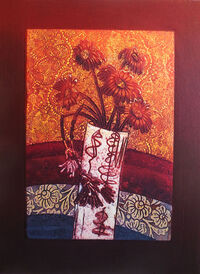 Autumnal Blooms I, collagraph
