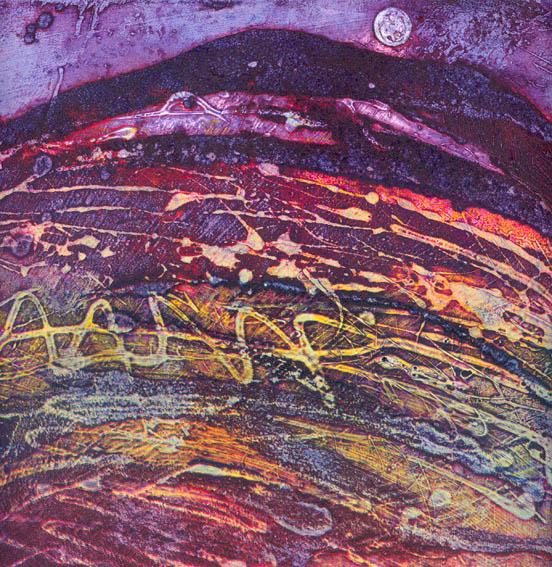 Dancing Dusk, Collagraph, 23x23cm