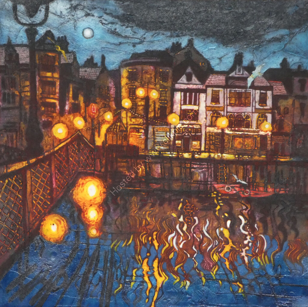 Whitby Lights I, collagraph and mixed media, working proof 1/1