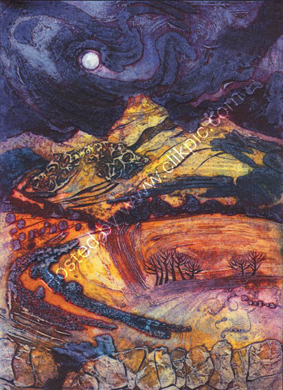 Moon Rising: Autumn Peaks, collagraph
