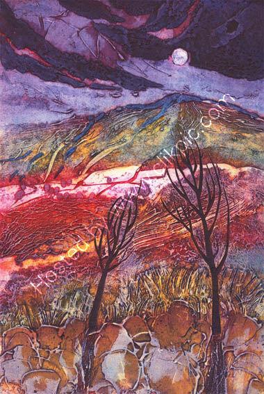Moon Rising: Winter Trees, collagraph, 37 x 25cm