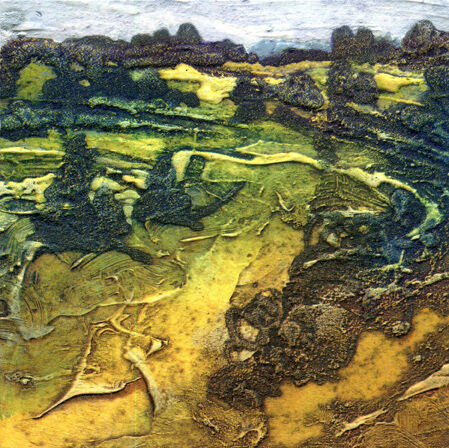 Summer Wetlands Humber 1 collagraph with Oil 16x16cm