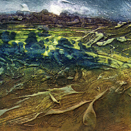 Summer Wetlands Humber 3 collagraph with Oil 16x16cm