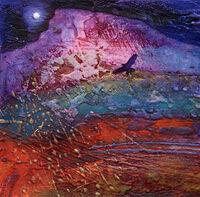 Towards Rainbow Mountain, collagraph and mixed media, 23 x 23cm
