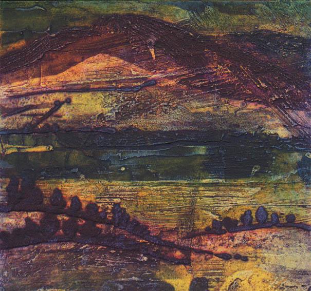 Tranquil Dusk, Collagraph, 23x23cm