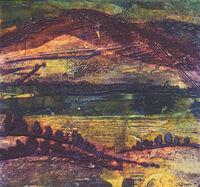 Tranquil Dusk, collagraph, 23 x 23cm