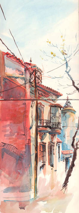 Barcelona Street, Watercolour and Ink