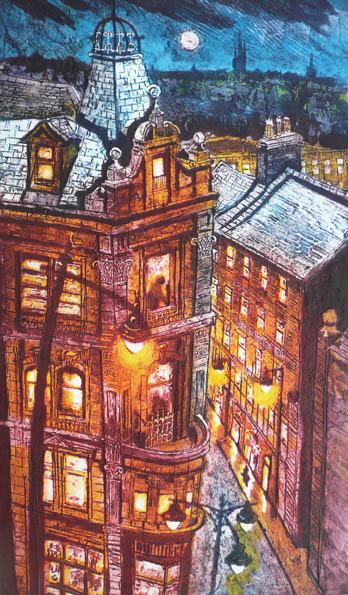 Birds Eye View: City Street I, Collagraph, 71x42cm