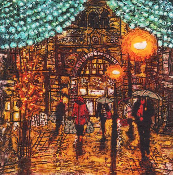Christmas Market, Collagraph, 31x31 cm