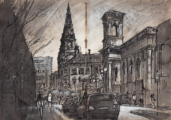 Halifax Bus Station, Indian Ink and Chalk Pastel