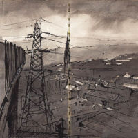 View over Halifax, Ink and wash