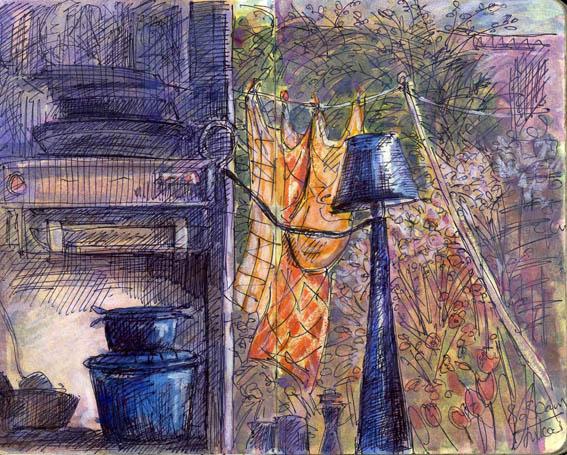 Julia's Kitchen Window, Pen and watercolour