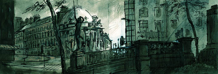 Leeds City square 1, Ink and Wash