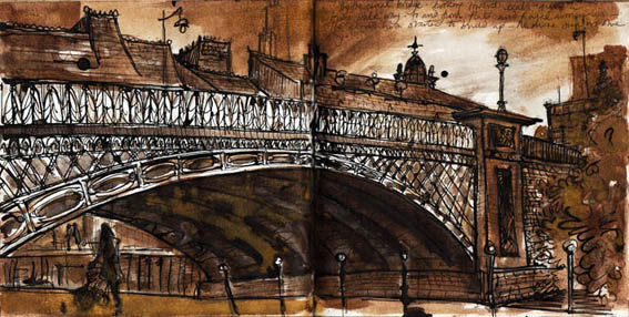 Near Leeds Armouries, Ink and wash