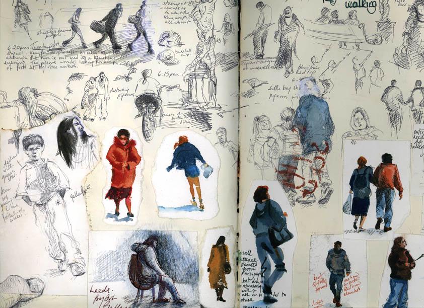 People in Leeds, Biro and Watercolour