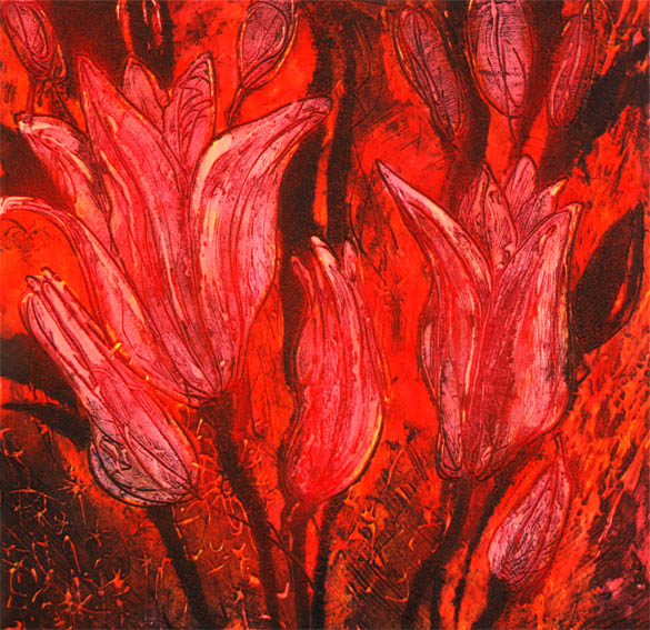Pink Tulips, Collagraph
