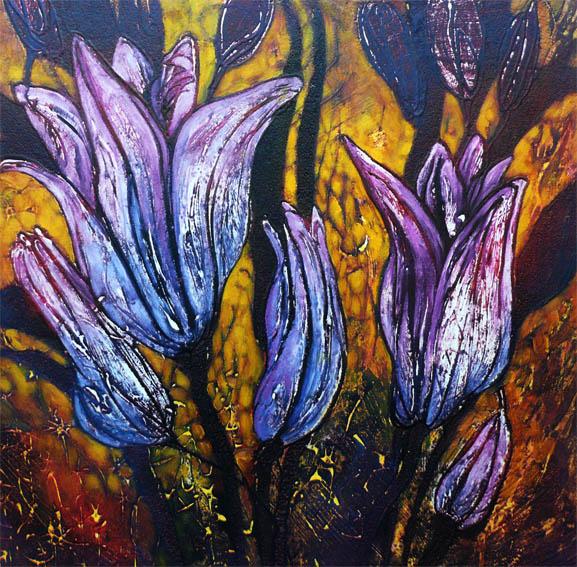 Purple tulips, Collagraph