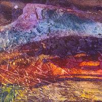 Rainbow Mountain, Collagraph, 23x23cm