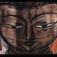 Buddha Head 1, Ink and Mixed media