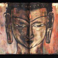 Buddha Head 2, Ink and Mixed media
