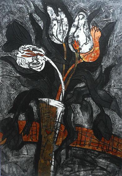 collagraph depicting valentine tulips