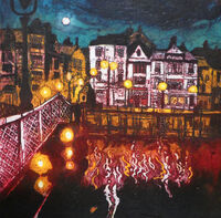 Whitby Lights I, collagraph, 31 x 31cm