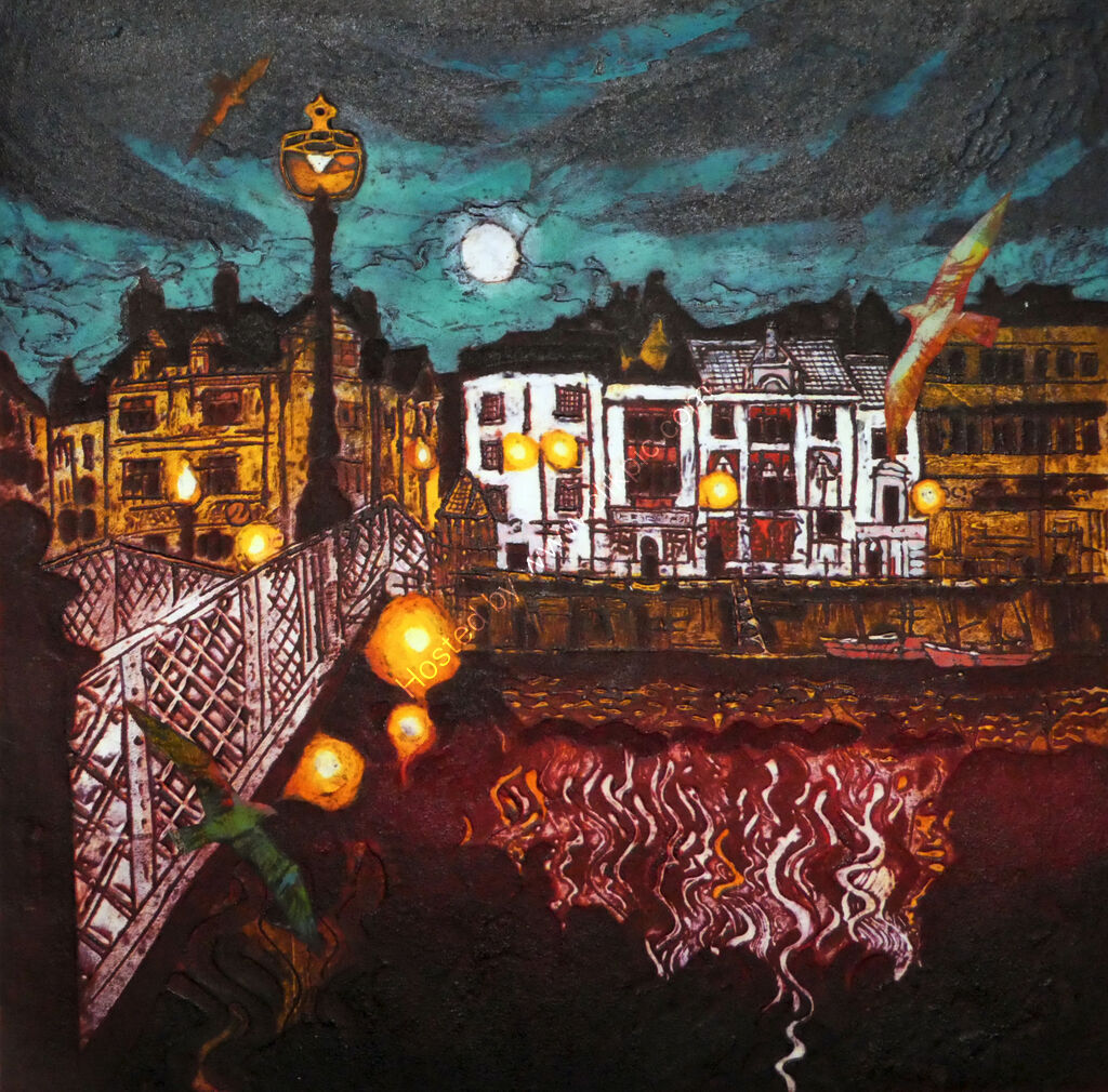 Whitby Lights II, collagraph and collage, 31 x 31cm
