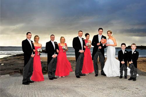 Colourful wedding scene at Spanish Point