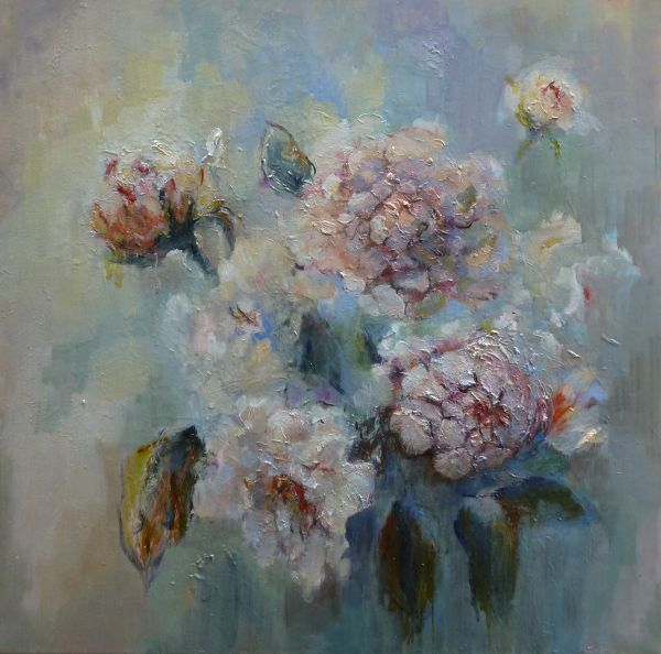 Peonies in Season III, Oil, 2010;  (Framed)